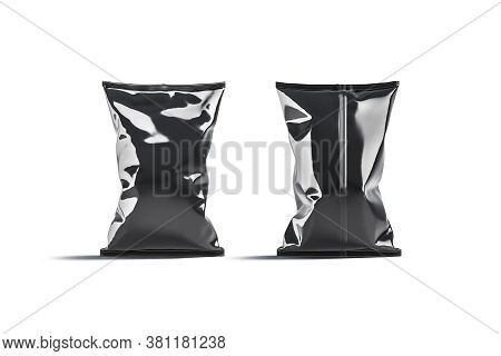 Blank Black Foil Big Chips Pack Mockup Stand, Front Back View, 3d Rendering. Empty Sachet Plastic En