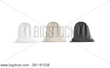 Blank Black, White, Canvas Drawstring Backpack Mockup Set, Front View, 3d Rendering. Empty Linen Or