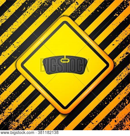Black Windshield Icon Isolated On Yellow Background. Warning Sign. Vector Illustration