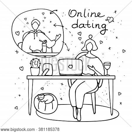 Heterosexual Couple Chatting Online During Pandemic. Man And Woman Flirting Online On Dating Site. V