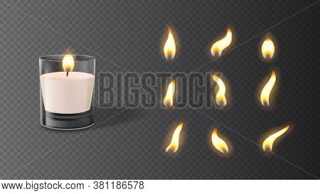Realistic Wax Candle In Glass With Set Of Flames. Vector Illustration With 3d Burning White Candle I