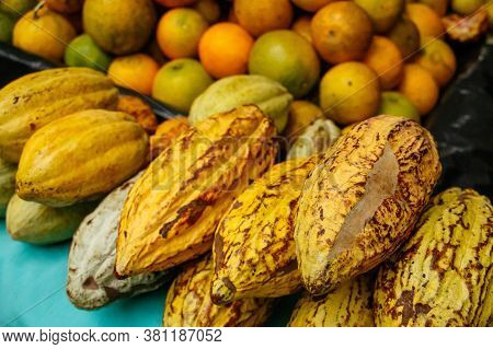Delicious Fresh Cocoa Fruit And Oranges At Traditional Market Of Latin America