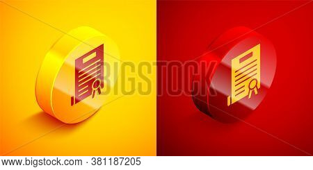 Isometric Declaration Of Independence Icon Isolated On Orange And Red Background. Circle Button. Vec