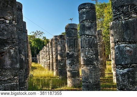Group Of Thousand Columns In Chichen Itza Ancient Mayan City In Mexico
