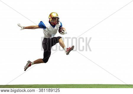 In Jump, Flight. American Football Player Isolated On White Studio Background With Copyspace. Profes