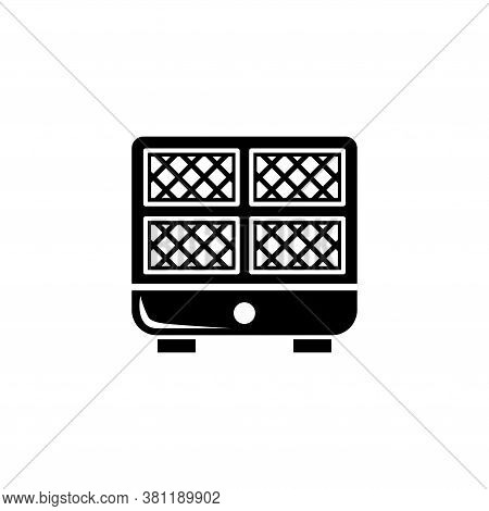 Waffle Iron Machine, Kitchen Waffle Maker. Flat Vector Icon Illustration. Simple Black Symbol On Whi