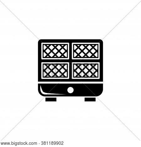 Waffle Iron Machine, Kitchen Waffle Maker. Flat Vector Icon Illustration. Simple Black Symbol On Whi