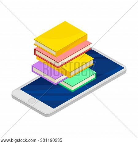 Smartphone Software With Book Reader App Vector Isometric Illustration