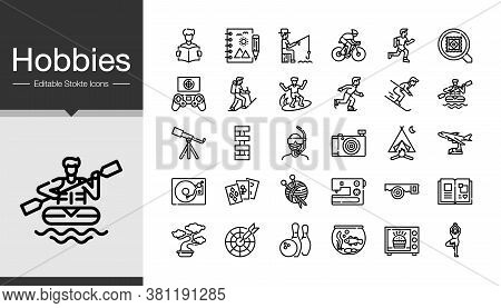 Hobbies Icons. Modern Line Design. Icon Set Of The Most Activities Of People In Holiday Or Summer. F