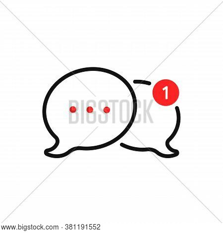 New Message Notification With Bubbles. Concept Of 2 Communication Popup Shape For Online Think And W