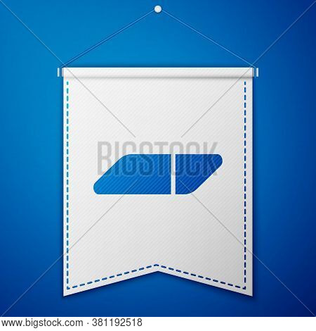 Blue Eraser Or Rubber Icon Isolated On Blue Background. White Pennant Template. Vector Illustration