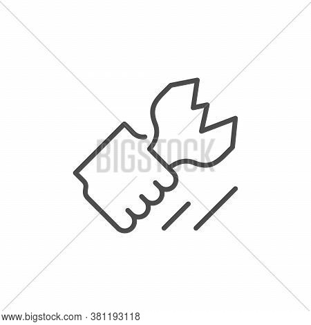 Fight Or Clash Line Outline Icon Isolated On White. Vector Illustration