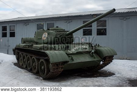March 23, 2019 Moscow Region, Soviet Medium Tank Of The World War Ii Period T-34-85 In The Central M