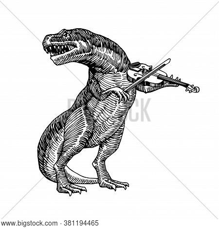 A Jurassic Reptile, A Dinosaur Playing A Classical Violin & Singing A Song, A Tyrannosaurus, A Preda