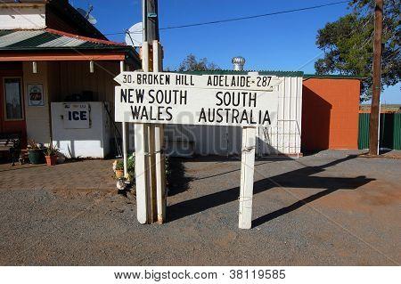 Australia State Border Road Sign