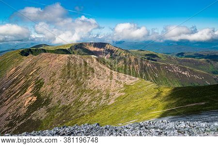 Beautiful Scottish Highlands Landscape. View Of The Mullach Nan Coirean Peak Of Mamores Ridge In Sco