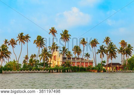 Alappuzha Backwaters Landscape With Church In Kerala State In India
