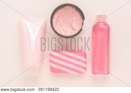 Cosmetics For Beauty And Skin Care. Cleansing Tonic, Moisturizing And Nourishing Cream With Collagen
