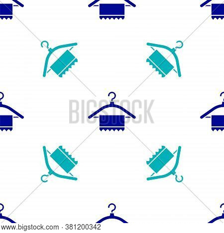 Blue Hanger Wardrobe Icon Isolated Seamless Pattern On White Background. Clean Towel Sign. Cloakroom