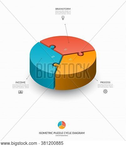 Infographic Isometric Puzzle Circular Template. Cycle Diagram With 3 Steps, Pieces, Parts. 3d Proces