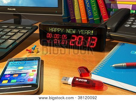 """Clock with """"Happy New Year!"""" message on table"""