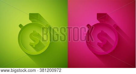 Paper Cut Time Is Money Icon Isolated On Green And Pink Background. Money Is Time. Effective Time Ma