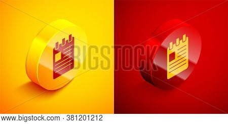 Isometric Notebook Icon Isolated On Orange And Red Background. Spiral Notepad Icon. School Notebook.