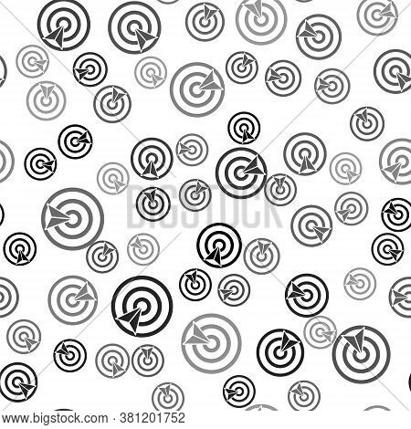 Black Target Sport Icon Isolated Seamless Pattern On White Background. Clean Target With Numbers For