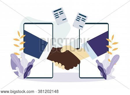 White And Black American People Shaking Hands Through Mobile Phone Screens. Handshake Partnership Or