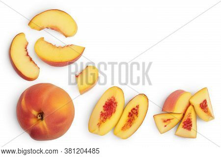 Ripe Peach Isolated On White Background With Clipping Path. Top View With Copy Space For Your Text.