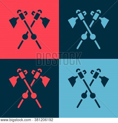 Pop Art Crossed Medieval Axes Icon Isolated On Color Background. Battle Axe, Executioner Axe. Mediev