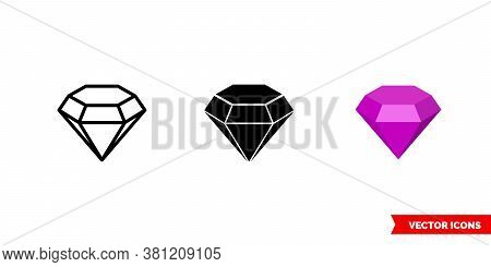 Amethyst Symbol Icon Of 3 Types Color, Black And White, Outline. Isolated Vector Sign Symbol.