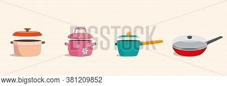 Cookware Kitchen Utensils With Lids Set. Colorful Frying Pan, Pot, Stockpot. Vector Illustration