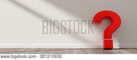 Red Question Mark Symbol Leaning Against White Wall On Wooden Floor Room With Copy Space, Question,
