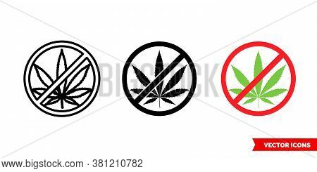 Cannabis Marijuana Ganja Forbidden Icon Of 3 Types Color, Black And White, Outline. Isolated Vector
