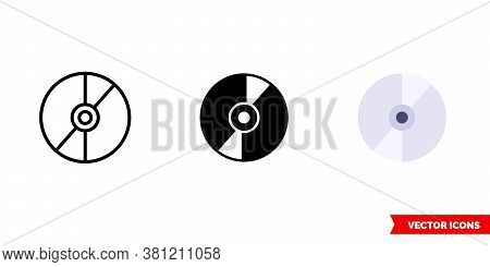 Cd Disk Icon Of 3 Types Color, Black And White, Outline. Isolated Vector Sign Symbol.