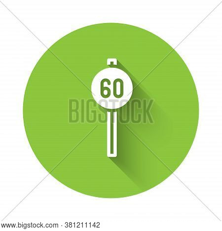 White Speed Limit Traffic Sign 60 Km Icon Isolated With Long Shadow. Green Circle Button. Vector
