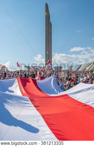 Minsk, Belarus - Aug 16, 2020: Biggest peaceful protest demonstrations in modern history of Belarus. More than 200 thousands people gathered to demand new fair elections and resignation of Lukashenko