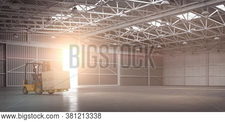 Empty warehouse or storehouse with forklift and sunlight in open gate. 3d illustration