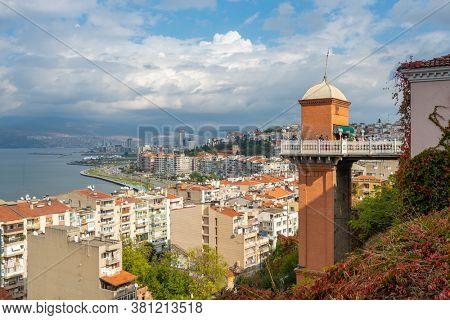 Izmir, Turkey - November 5, 2019: The Historical Elevator in Konak District of Izmir, Turkey. Beautiful top view of Izmir with Historical Elevator.