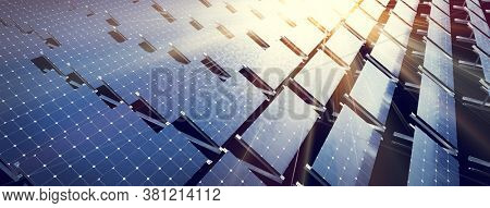 Solar panels array system. Photovoltaic, clean energy technology - power and electricity. 3D illustration