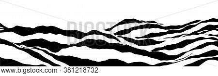 Optical Illusion Wave. Abstract 3D Black And White Illusions. Horizontal Lines Stripes Pattern Or Ba