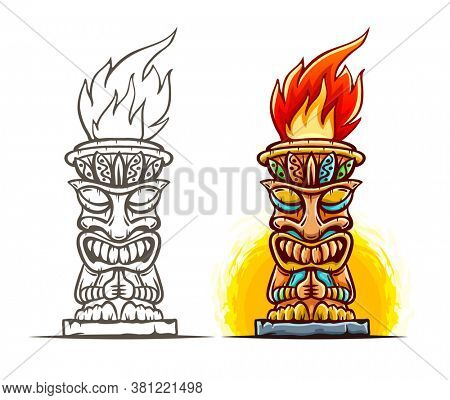 Tiki traditional hawaiian tribal mask with human face and burning fire. Wooden totem symbol, god from ancient culture of Hawaii. Hand drawn in cartoon style, isolated on white. 3D illustration.