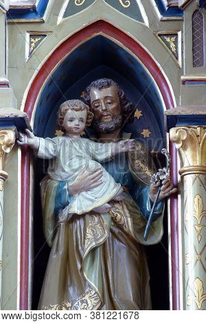 LUKA, CROATIA - SEPTEMBER 16, 2012: St. Joseph's statue at Our Lady's altar at St. Roch Church in Luka, Croatia