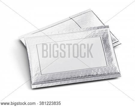 Pair of Small silver paper delivery mail post packet isolated on the white background. Mockup template. copy space. 3d rendering