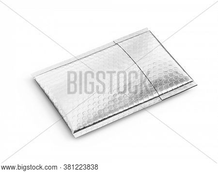 Small silver paper delivery mail post packet isolated on the white background. Mockup template. copy space. 3d rendering