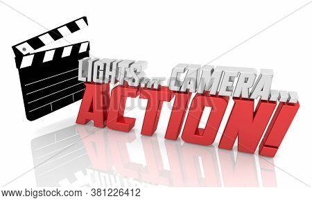 Lights Camera Action Movie Film Clapper Production Starts Begins 3d Illustration