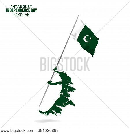 Vector Illustration For 14th August Independence Day Of Pakistan. Rejoicing Boy Jumping With Pakista