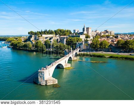 Pont Saint Benezet Bridge And Rhone River Aerial Panoramic View In Avignon. Avignon Is A City On The