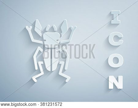 Paper Cut Beetle Deer Icon Isolated On Grey Background. Horned Beetle. Big Insect. Paper Art Style.